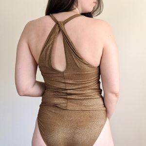 Vtg DKNY Gold Sparkle Shimmer Swimsuit Tankini 6
